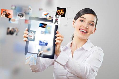 Woman showing tablet apps