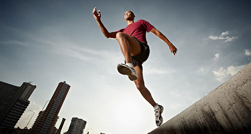 Athletic man jumping