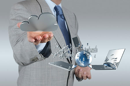 Man with cloud technologies